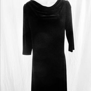 J Jill Black Velvet Dress Sz 4 Draped Neck Midi